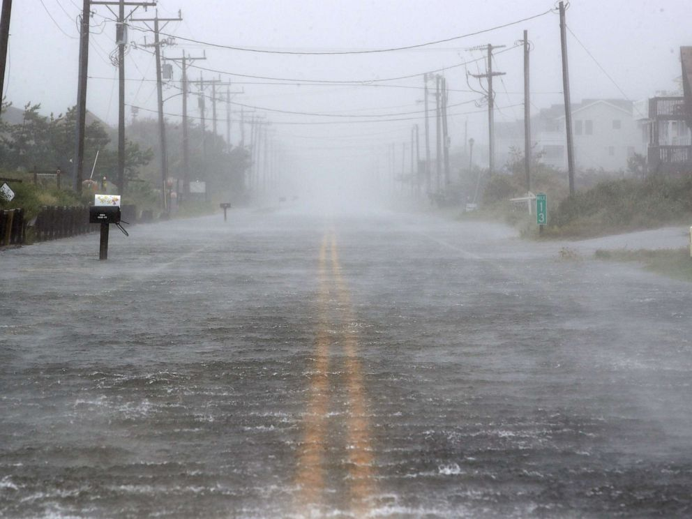 PHOTO: Water floods Highway 12 as Hurricane Dorian hits Nags Head, N.C., Sept. 6, 2019.