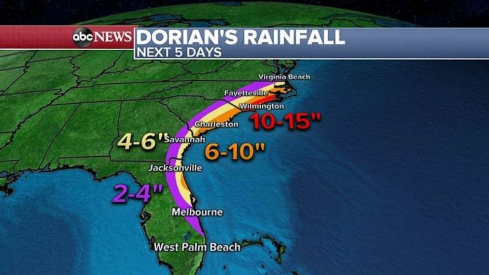 The heaviest rainfall is expected to hit North Carolina, where the port city of Wilmington could see up to 15 inches of rain.