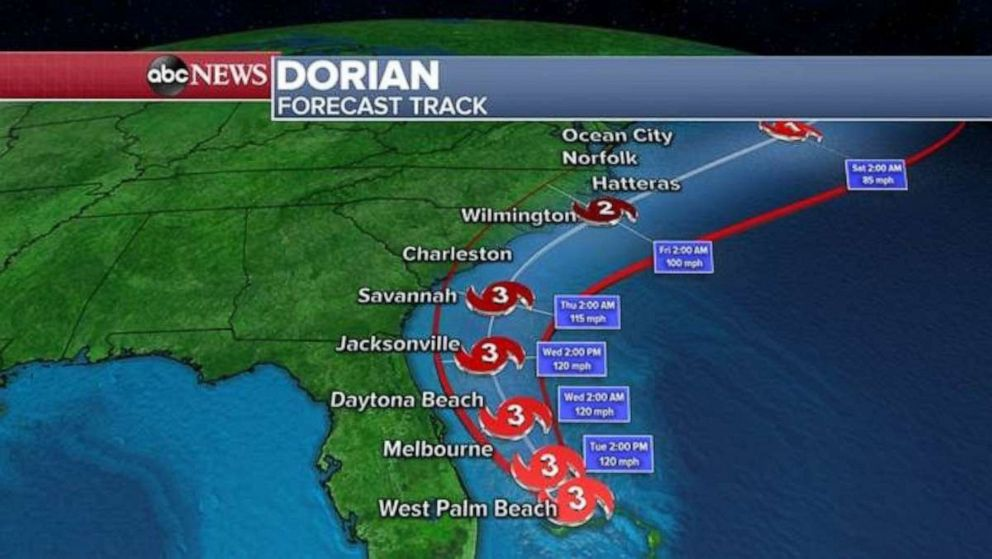 PHOTO: The forecast track for Hurricane Dorian as of 5 a.m. ET, Sept. 3, 2019.