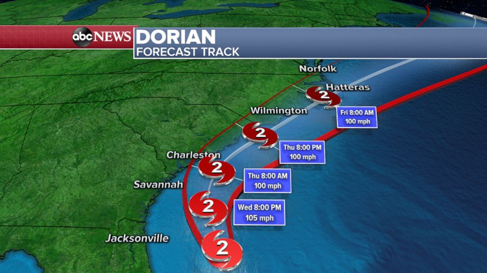 PHOTO: A weather map from ABC News shows the forecast track for Hurricane Dorian.