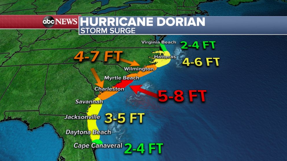 PHOTO: An ABC News weather map shows the forecast for storm surge heights from Hurricane Dorian in the Southeast.