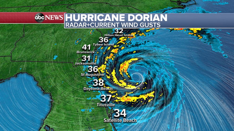 PHOTO: An ABC News weather map shows the radar and current wind gusts for Hurricane Dorian, Sept. 4, 2019.