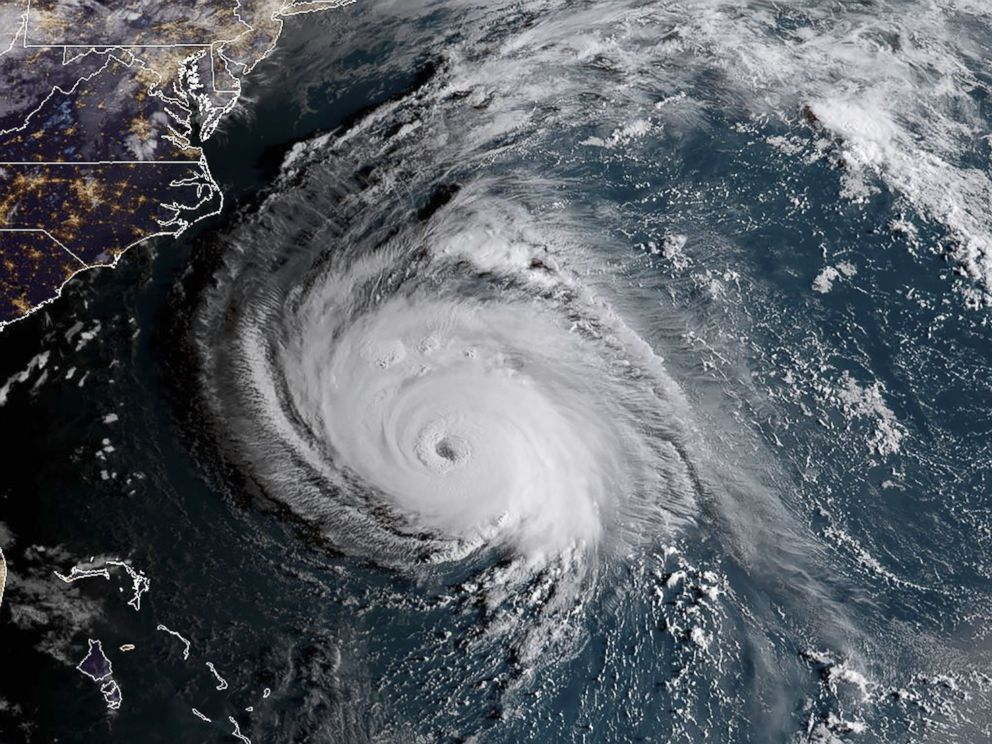 PHOTO: This NOAA/RAMMB satellite image taken at 6:00 ET on Sept. 12, 2018, shows Hurricane Florence off the US east coast in the Atlantic Ocean.