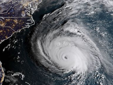 PHOTO: Hurricane Florence churns off the east coast of the U.S. in a satellite image taken on Sept. 12, 2018.