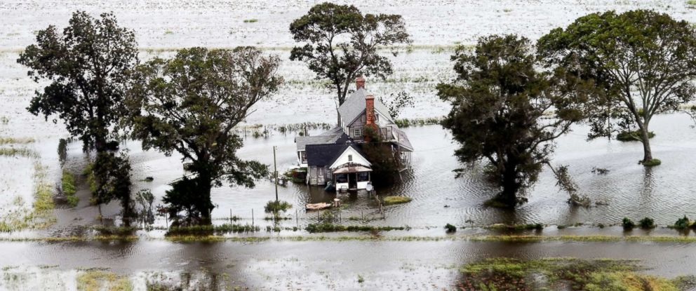 PHOTO: A farm house is surrounded by flooded fields from tropical storm Florence in Hyde County, N.C., Sept. 15, 2018.