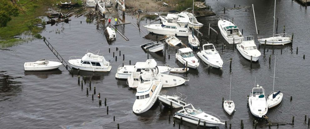PHOTO: Boats are stacked up on each other in a marina as a result from Florence in New Bern, N.C., Sept. 15, 2018.