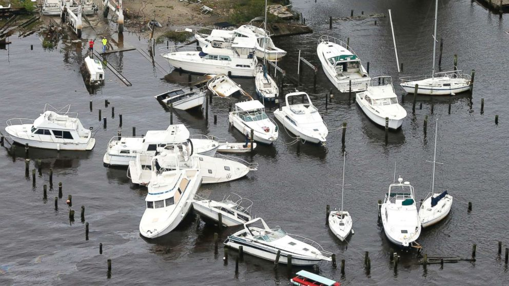 Boats are stacked up on each other in a marina as a result from Florence in New Bern, N.C., Sept. 15, 2018.