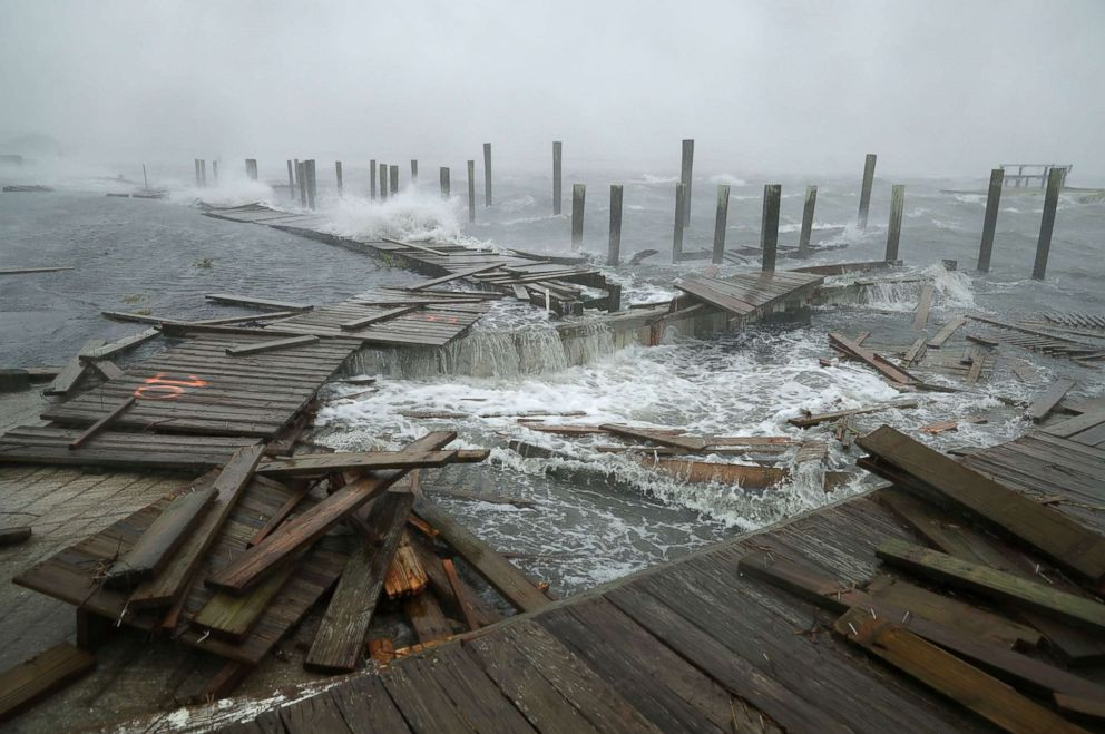 U.S.  coast battered by wind, rain as Hurricane Florence closes in