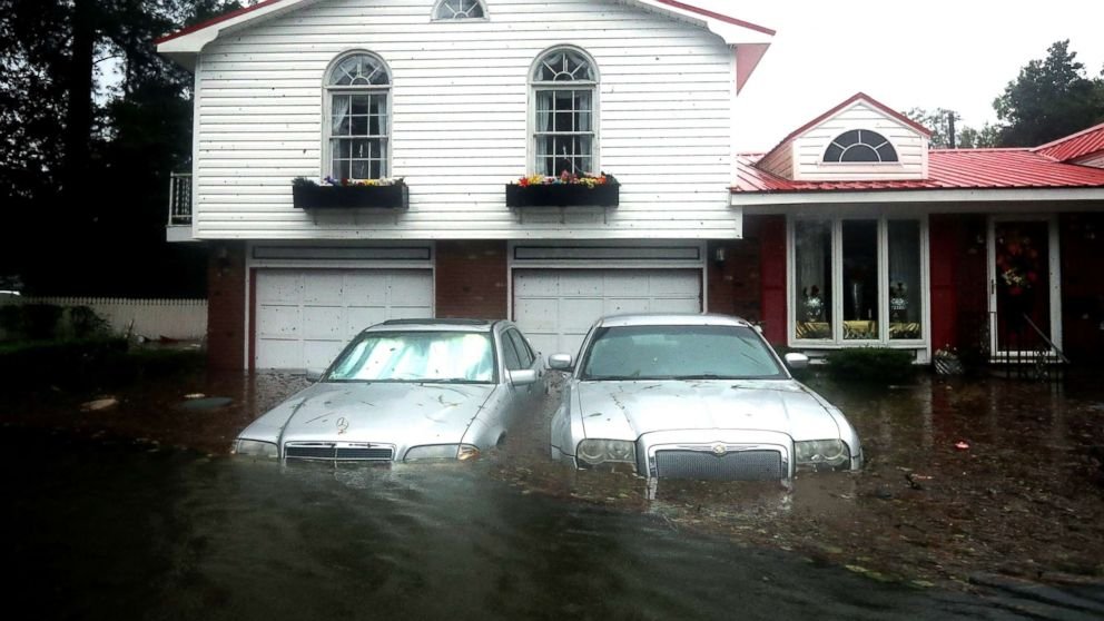 Homes are flooded after a storm surge from Hurricane Florence flooded the Neuse River on Sept. 14, 2018, in New Bern, N.C.