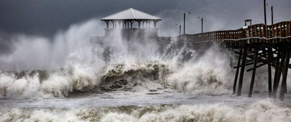 PHOTO: Waves slam the Oceana Pier & Pier House Restaurant in Atlantic Beach, N.C., Sept. 13, 2018 as Hurricane Florence approaches the area.
