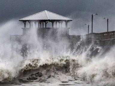 PHOTO: Waves slam the Oceana Pier & Pier House Restaurant in Atlantic Beach, N.C., Sept. 13, 2018 as Hurricane Florence approaches the area.