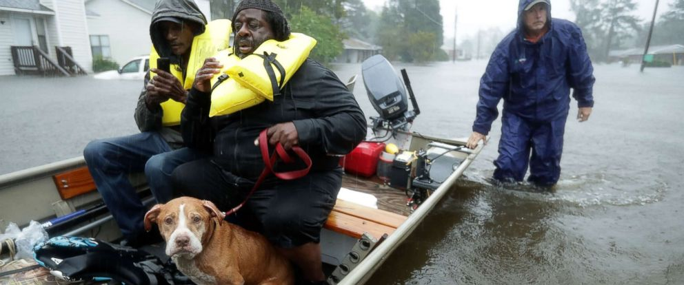 PHOTO: Volunteers from all over North Carolina help rescue residents and their pets from their flooded homes during Hurricane Florence, Sept. 14, 2018 in New Bern, N.C.
