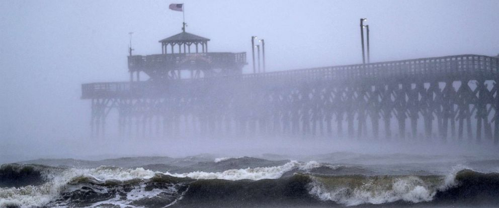 PHOTO: Waves created by Hurricane Florence are seen along Cherry Grove Fishing Pier, Sept. 14, 2018, in North Myrtle Beach, S.C.