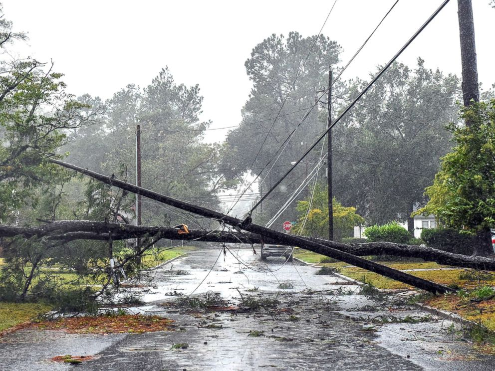 PHOTO: Tropical Storm Florence continues to unleash massive amount of rain on Lumberton, N.C., on Sept. 15, 2018, causing downed trees and power lines and minor flooding in areas.
