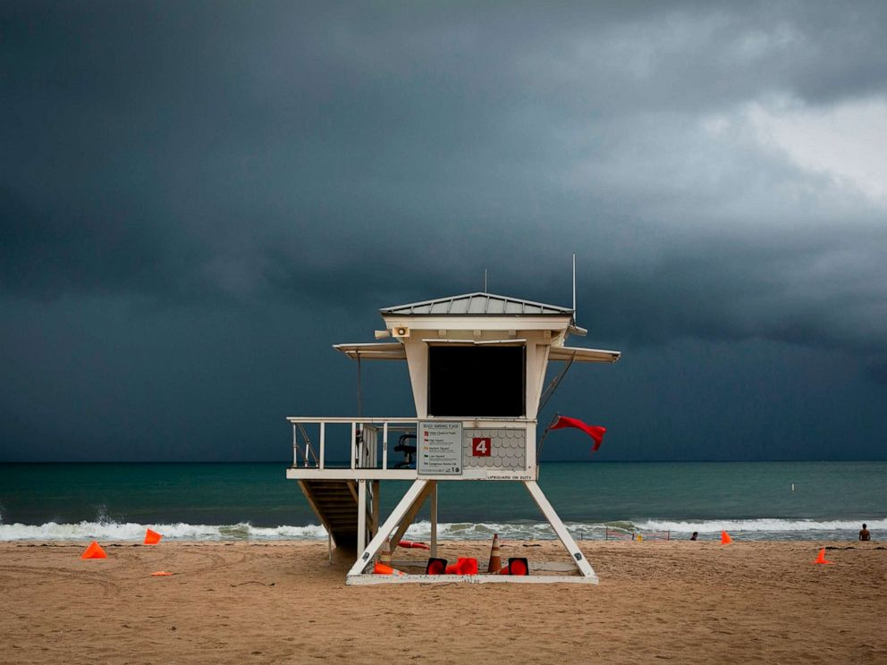 PHOTO: A lifeguard tower is seen on the shore in at Las Olas Beach in Fort Lauderdale, Florida on September 2, 2019.