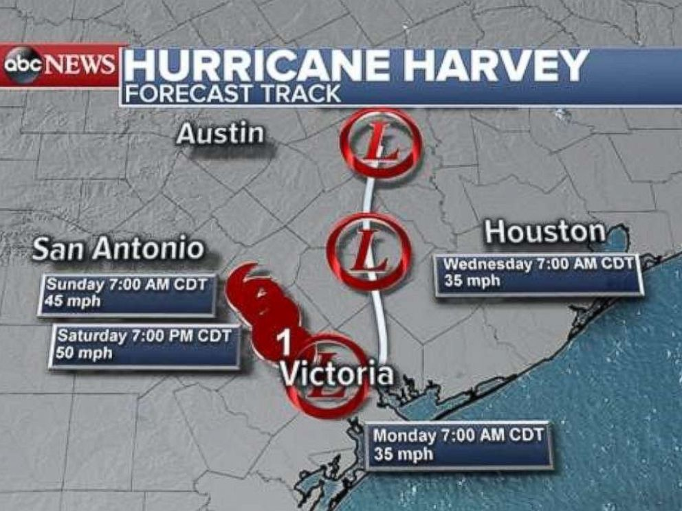 PHOTO: Hurricane Harvey is forecast to slow down and meander over southeastern Texas.