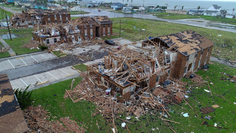 PHOTO: Aerial footage shows damage to Salt Grass Landing Apartments in Rockport, Texas., after Hurricane Harvey, Aug 27, 2017.