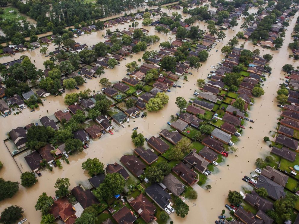 PHOTO: Residential neighborhoods near interstate 10 sit in floodwater in the wake of Hurricane Harvey in Houston, Aug. 29, 2017