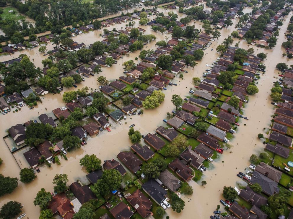 PHOTO: Residential neighborhoods near the Interstate 10 sit in floodwater in the wake of Hurricane Harvey in Houston, Aug. 29, 2017.