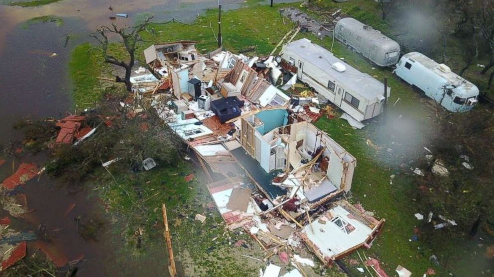 Daylight shows the devastation in Rockport and surrounding areas of southeast Texas, Aug. 26, 2017.