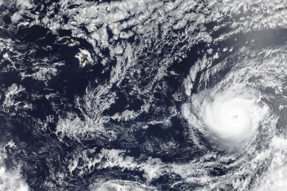 PHOTO: Hurricane Hector is seen southeast of Hawaii on Aug. 6, 2018 in this NASA Earth Observatory satellite image.