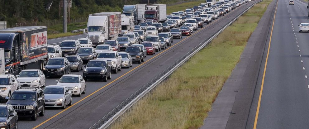 PHOTO: Hurricane Irma evacuating traffic streaming out of Florida creeps along northbound Interstate 75 after a vehicle accident in Lake Park, Ga., Sept. 6, 2017.