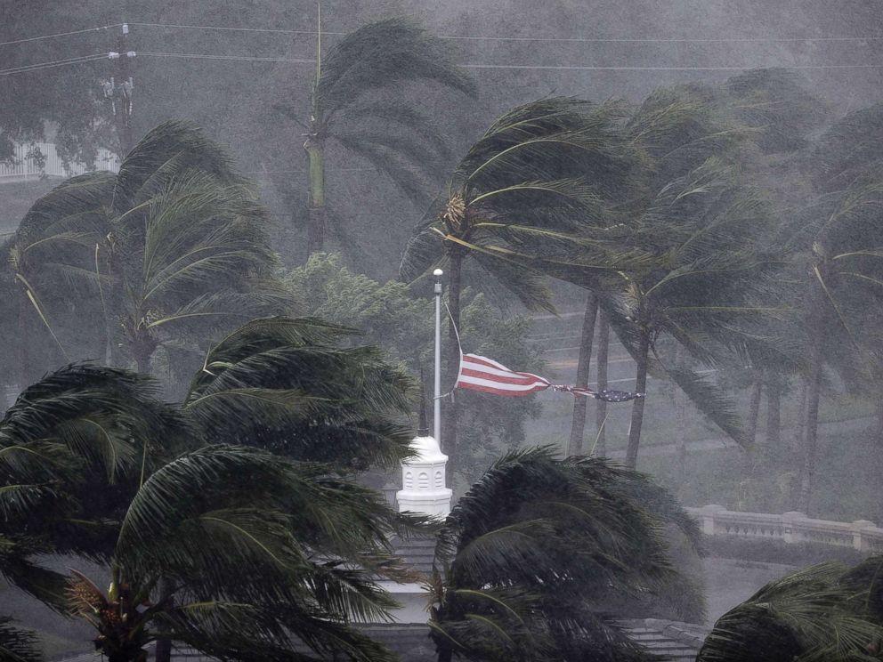 PHOTO: An American flag is torn as Hurricane Irma passes through Naples, Fla., Sept. 10, 2017.