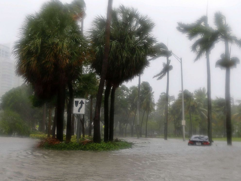 PHOTO: Heavy rains flood the streets in the Coconut Grove area in Miami, Sept. 10, 2017, during Hurricane Irma.