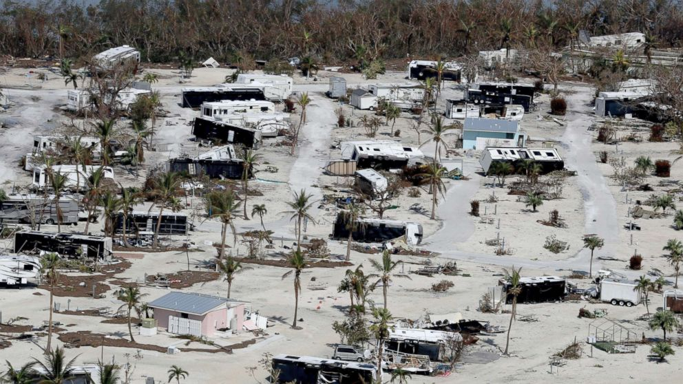 This photo shows damaged homes in the aftermath of Hurricane Irma in Sunshine Key, Fla., Sept. 13, 2017.