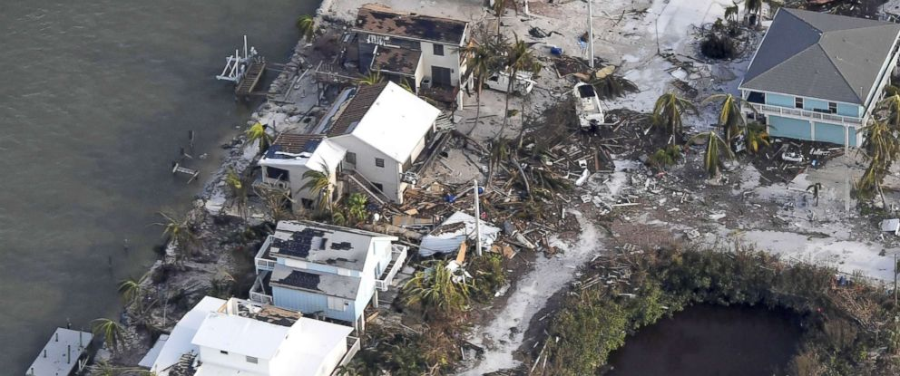 PHOTO: Damaged houses are seen in the aftermath of Hurricane Irma, Sept. 11, 2017, over the Florida Keys, Fla.