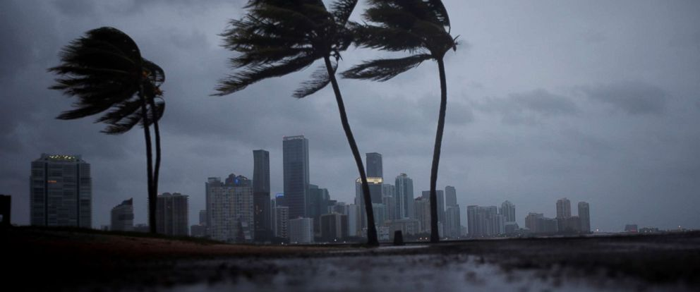 PHOTO: Dark clouds are seen over Miamis skyline before the arrival of Hurricane Irma to Florida, Sept. 9, 2017