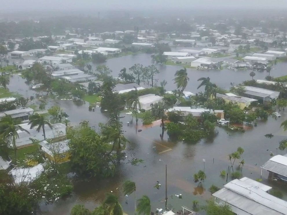 PHOTO: Images captured by a drone show damage in the aftermath of Hurricane Irma making landfall in Naples, Fla., Sept. 10, 2017.