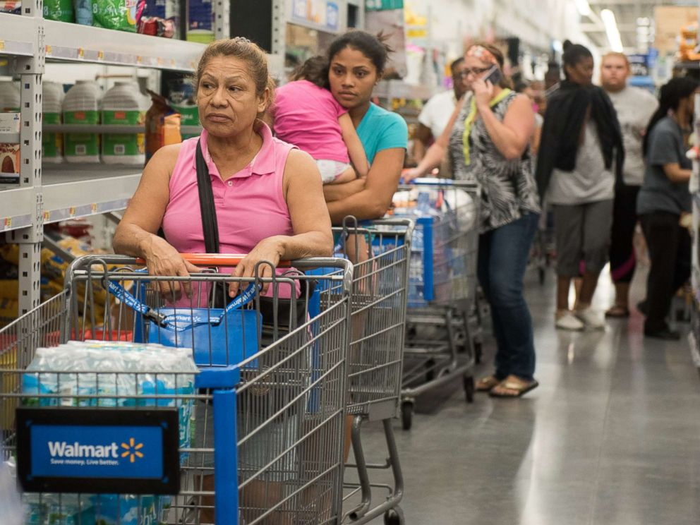 PHOTO: Canned food shelves at Walmart in Fort Lauderdale, Fla., Sept. 5, 2017, while residents stock up with groceries in preparation for hurricane Irma.
