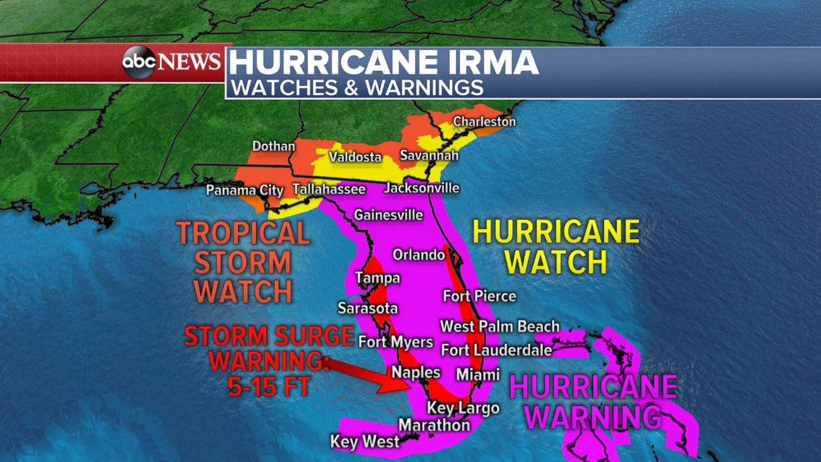 Watches And Warnings Map PHOTO: Hurricane Irma watches and warnings map.   ABC News Watches And Warnings Map