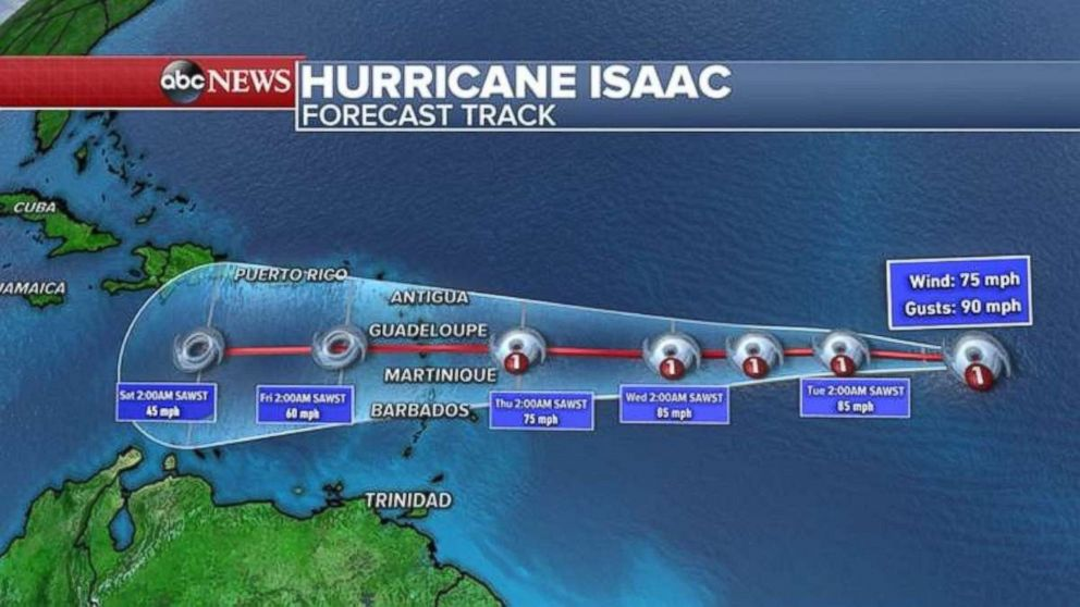 PHOTO: Hurricane Isaac is a Category 1 storm and moving west toward the Caribbean.
