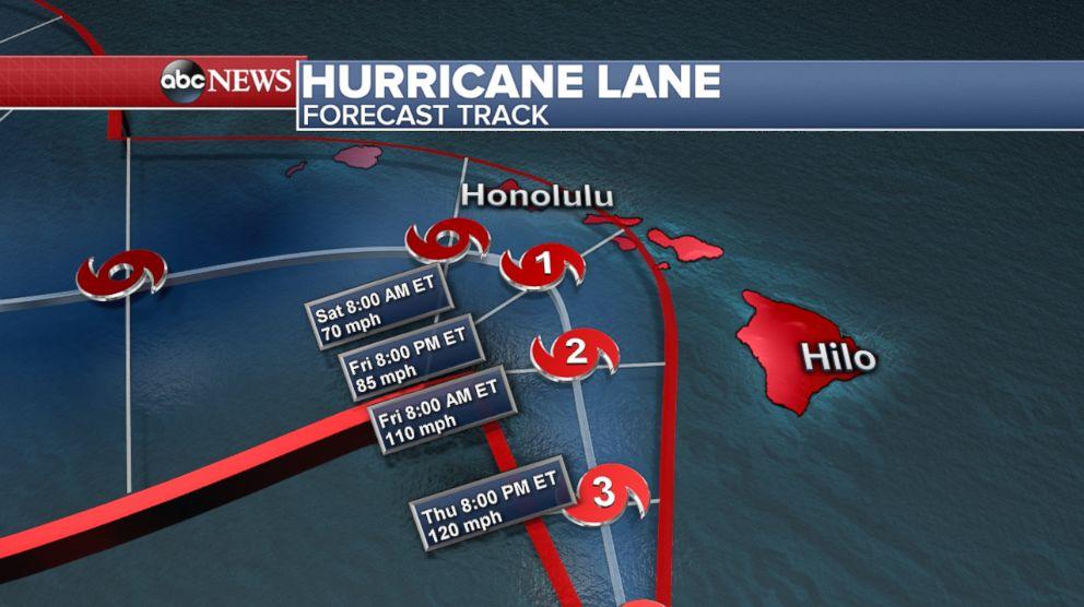 PHOTO: Hurricane Lane forecast track as of 12 pm ET, Aug. 23, 2018.