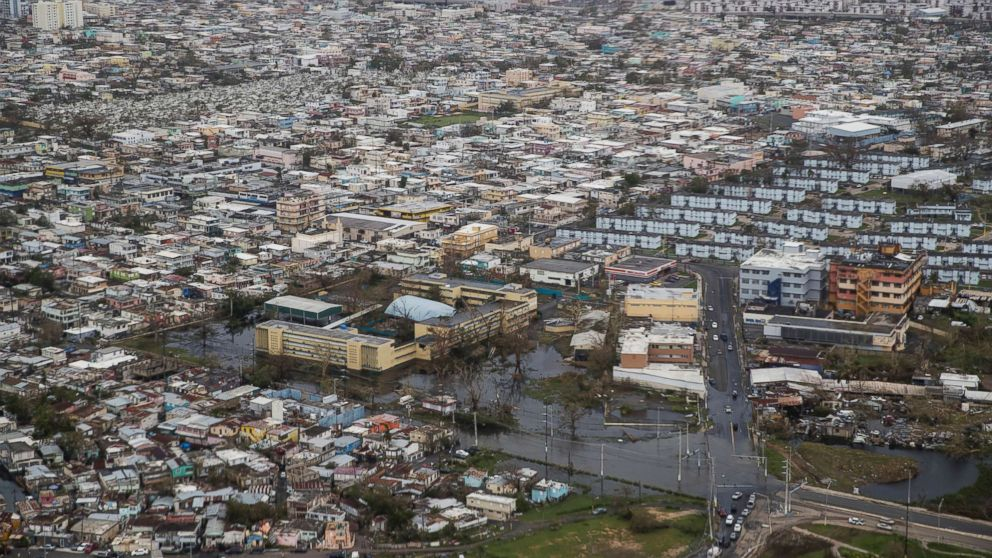 An aerial photo shows San Juan, Puerto Rico, days after the island was hit by Hurricane Maria, Sept. 22, 2017.