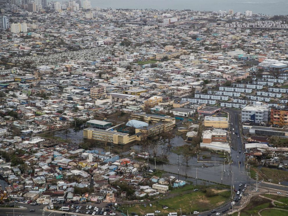 PHOTO: An aerial photo shows San Juan, Puerto Rico, days after the island was hit by Hurricane Maria, Sept. 22, 2017.