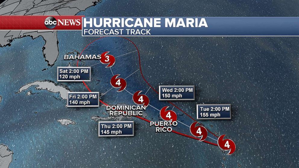 The forecast track for Hurricane Maria Sept. 18, 2017.