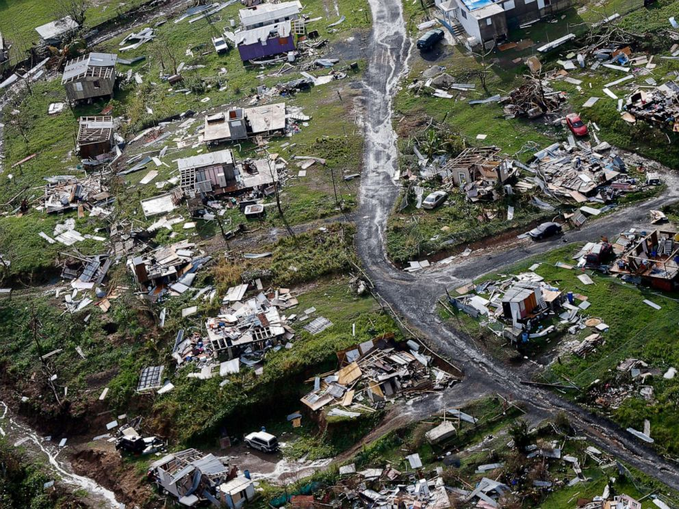 PHOTO: In this Sept. 28, 2017 file photo, the rubble of homes are scattered in the aftermath of Hurricane Maria in Toa Alta, Puerto Rico.