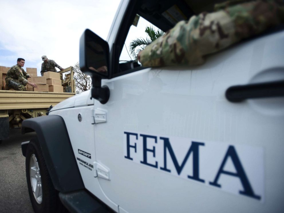 PHOTO: The Department of Homeland Security personnel delivers supplies to Santa Ana community residents in the aftermath of Hurricane Maria in Guayama, Puerto Rico, Oct. 5, 2017.