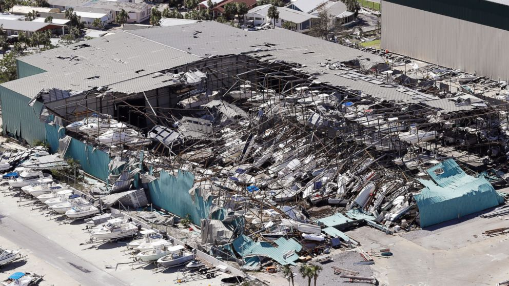 A roof collapses following Hurricane Michael on Oct. 11, 2018, in Panama City Beach, Fla.