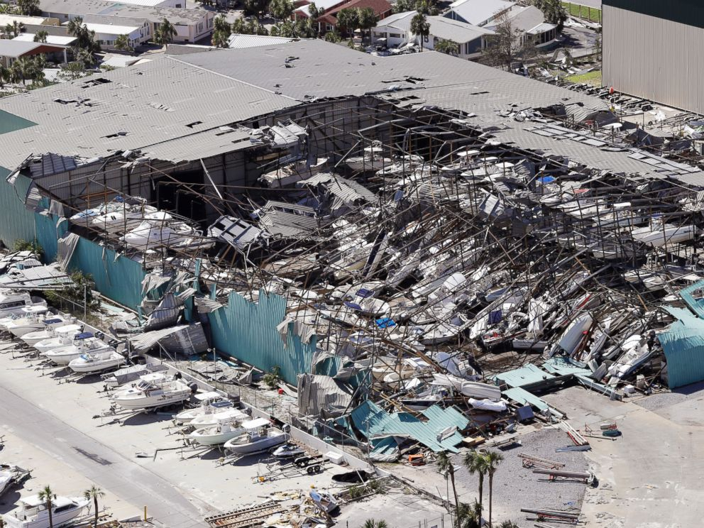 PHOTO: A roof collapses following Hurricane Michael on Oct. 11, 2018, in Panama City Beach, Fla.