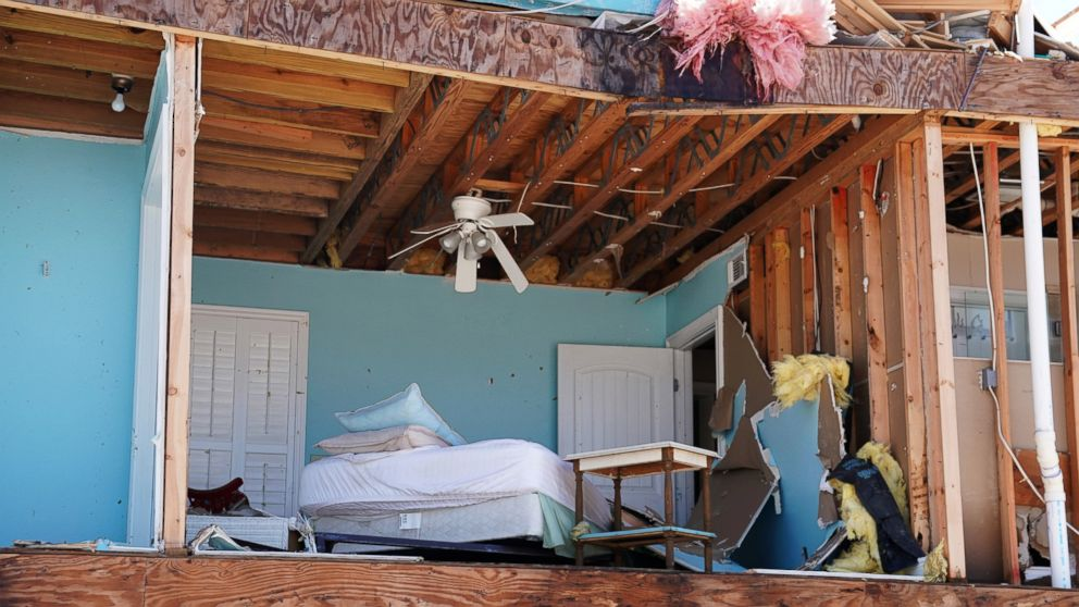 A bedroom of a destroyed house is pictured following Hurricane Michael in Mexico Beach, Fla., Oct. 11, 2018.