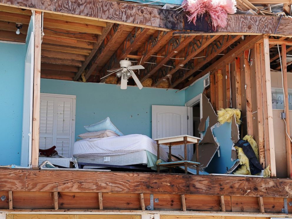 PHOTO: A bedroom of a destroyed house is pictured following Hurricane Michael in Mexico Beach, Fla., Oct. 11, 2018.