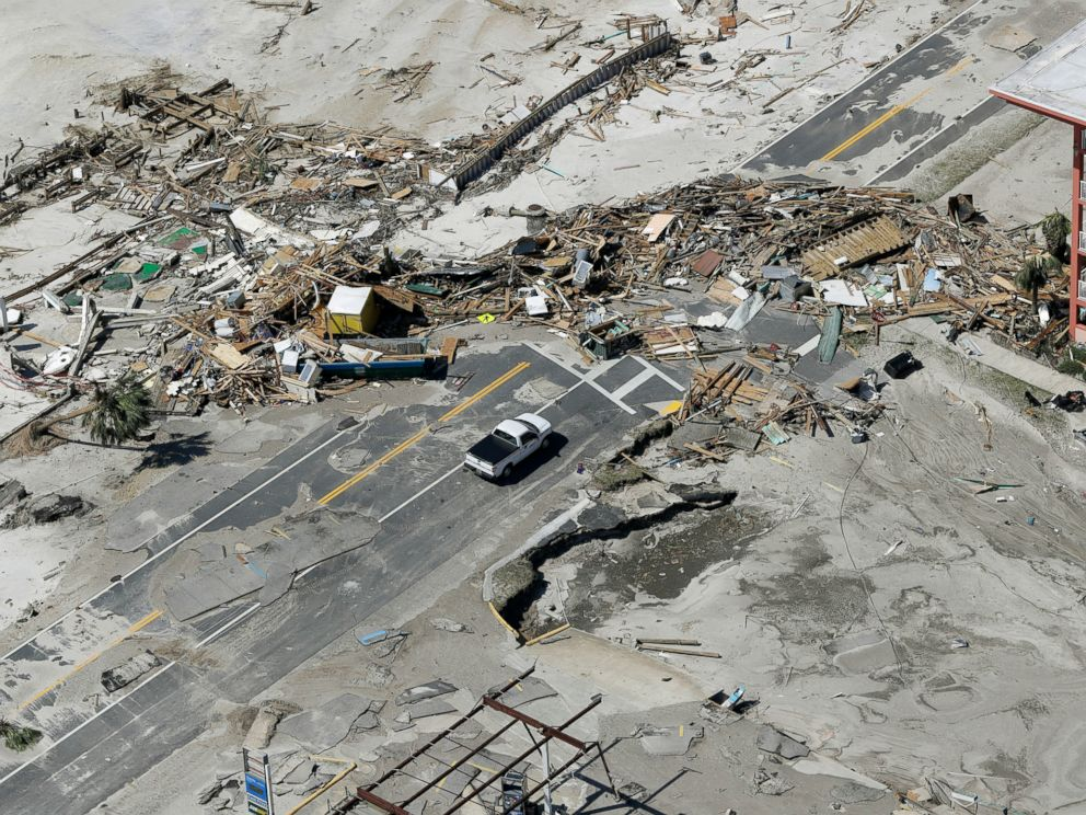 PHOTO: Debris from homes destroyed by Hurricane Michael block a road on Oct. 11, 2018, in Mexico Beach, Fla.