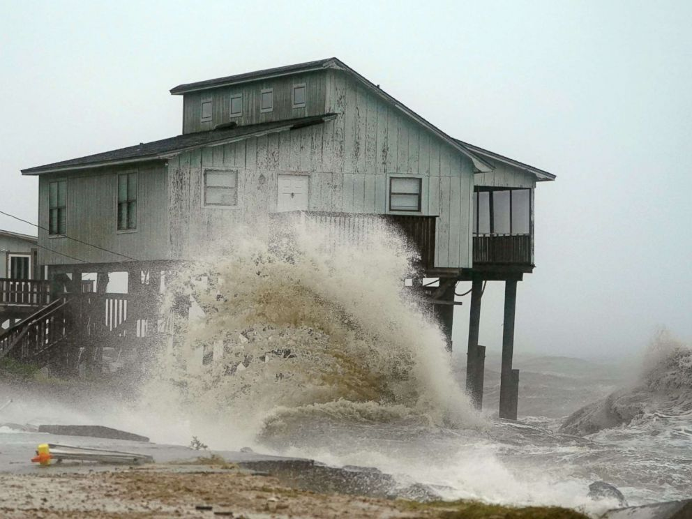 PHOTO: Waves take over a house as Hurricane Michael comes ashore in Alligator Point, Fla., Oct. 10, 2018.