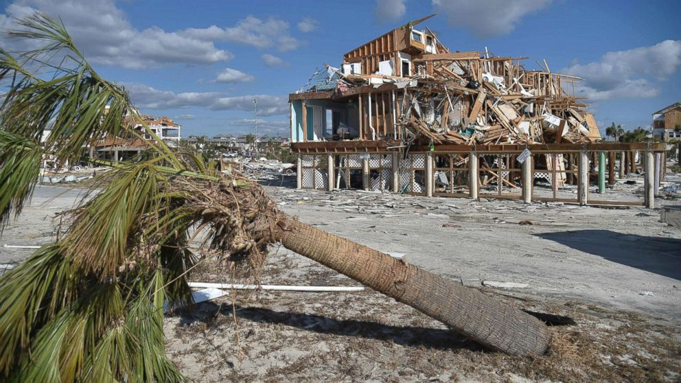 View of the damaged caused by Hurricane Michael in Mexico Beach, Fla, Oct. 13, 2018.