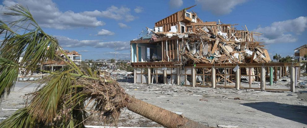 PHOTO: View of the damaged caused by Hurricane Michael in Mexico Beach, Fla, Oct. 13, 2018.