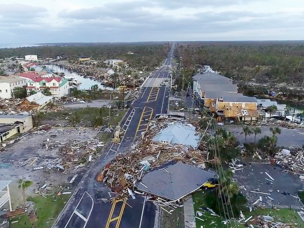 PHOTO: In this image made from video, damage from Hurricane Michael is seen in Mexico Beach, Fla., Oct. 11, 2018.